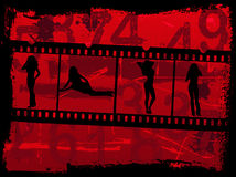 Girls on Film. Grunge Background with a film strip of girls Royalty Free Stock Photography