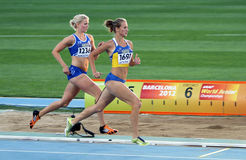 Girls on the finish of the Heptathlon event Stock Photos