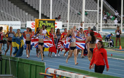 Girls after the finish of the Heptathlon event Royalty Free Stock Photography