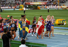 Girls after the finish of the Heptathlon event royalty free stock photo