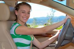 Girls First Driving Lessons Royalty Free Stock Photo