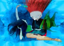 Girls with a fish. Walk under water. A color illustration, a water color, gouache Royalty Free Stock Photos
