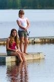 Girls fishing Royalty Free Stock Image