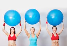 Girls with fitballs Stock Photography