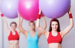 Girls with fitballs Royalty Free Stock Image