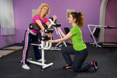 Girls in the fitness center Stock Photo