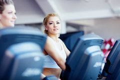 Girls in fitness center Royalty Free Stock Images