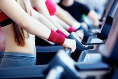 Girls in fitness center Stock Images