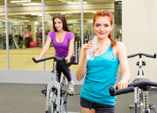 Girls in fitness club Royalty Free Stock Image