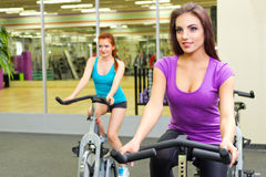 Girls in fitness club Stock Photo