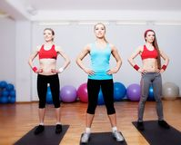 Girls on fitness training Stock Photo