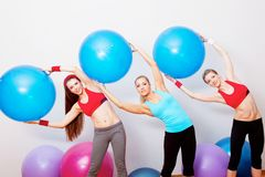 Girls on fitness training Stock Photos