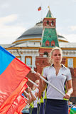 Girls with flags of Russian Federation Stock Images
