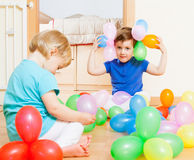 Girls  on  floor with balloons . Royalty Free Stock Photo