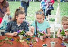 Girls at floristic workshop Royalty Free Stock Photos
