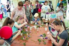 Girls at floristic workshop Royalty Free Stock Photo