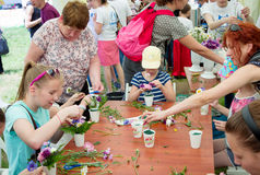 Girls at floristic workshop. Zaporizhia/Ukraine- May 28, 2017: Charity Family festival:  teen girls participating at floristic workshop, learning to arrange Stock Photography