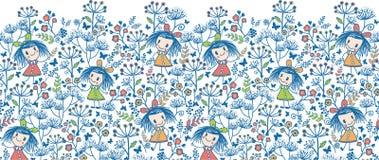 Girls in the flower garden horizontal seamless Royalty Free Stock Image