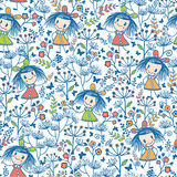 Girls in the flower garden seamless pattern Royalty Free Stock Photo
