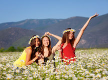 Girls on the flower meadow Stock Photos