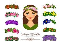 Girls flower wreaths stock illustration