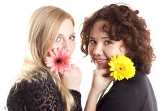 Girls with flowers Royalty Free Stock Photography