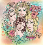 Girls and flowers Royalty Free Stock Photos