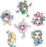 Girls flowers Royalty Free Stock Photos