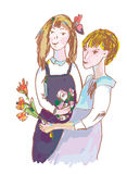 Girls with flowers cute sketch Royalty Free Stock Photos