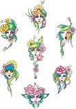 Girls flowers Stock Image