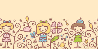 Girls with flowers horizontal seamless pattern Stock Photography