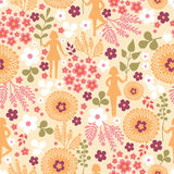 Girls among flowers seamless pattern background Royalty Free Stock Images