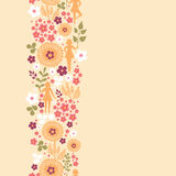 Girls among flowers vertical seamless pattern Stock Images