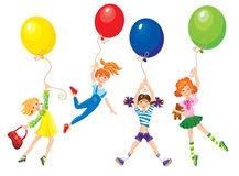 Girls flying away on balloons Royalty Free Stock Photo