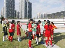 The girls in football training. Girls in football training, baoan stadium in shenzhen, China Stock Photography