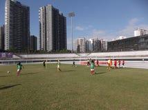 The girls in football training. Girls in football training, baoan stadium in shenzhen, China Stock Photo