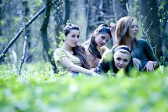 Girls in forest Royalty Free Stock Images