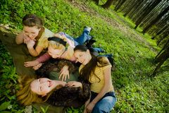 Girls in the forest Royalty Free Stock Photography