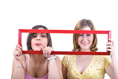 Girls in frame Stock Photography