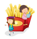 Girls and french fries stock illustration