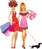 Girls friends. Vector illustration of two fashionable women Stock Photography