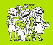 Girls friends and cat design outline girlish style Royalty Free Stock Image