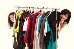 Girls friends choosing clothes Royalty Free Stock Image