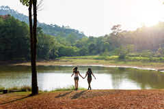 Girls Friends Exploring Outdoors Nature Concept stock photo