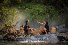 Girls friends fun Fishing Royalty Free Stock Image