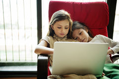 Girls Friends Laptop Using Concept Royalty Free Stock Photos