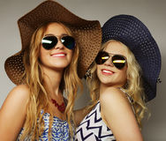 Girls friends  laughing and hug Stock Photos