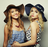Girls friends  laughing and hug Royalty Free Stock Image