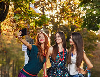 Girls Friends making selfie Royalty Free Stock Photo
