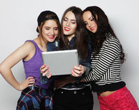 Girls friends taking selfie with digital tablet Royalty Free Stock Images
